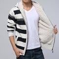 2015 dos homens do Outono e Stripes Knit Jacket Cardigan Maré Grande Metros Mais Grossa de Veludo Camisola Com Capuz Listrada Jaqueta