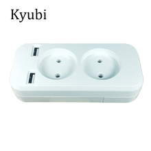 New USB extension Socket for phone charge Free shipping Double Port 5V 2A Usb electrique prise usb murale steckdose KF-01-2