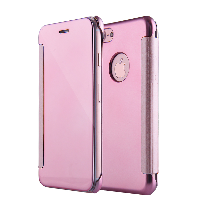Case for iphone X Leather+Hard Plastic Flip Plating Mirror Smooth Case For iphone 8 7 6 6S Plus X 10 Protective Phone Cover Capa