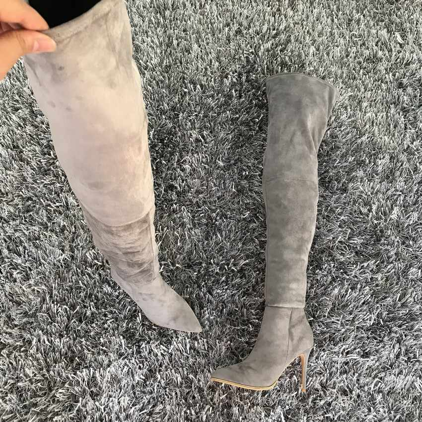 Kadın Ayakkabı Diz Çizmeler Üzerinde Seksi Uyluk Yüksek Çizmeler için 2019 Sonbahar Kış Bayanlar Moda Yüksek Topuklu Bot Ayakkabı Kadın