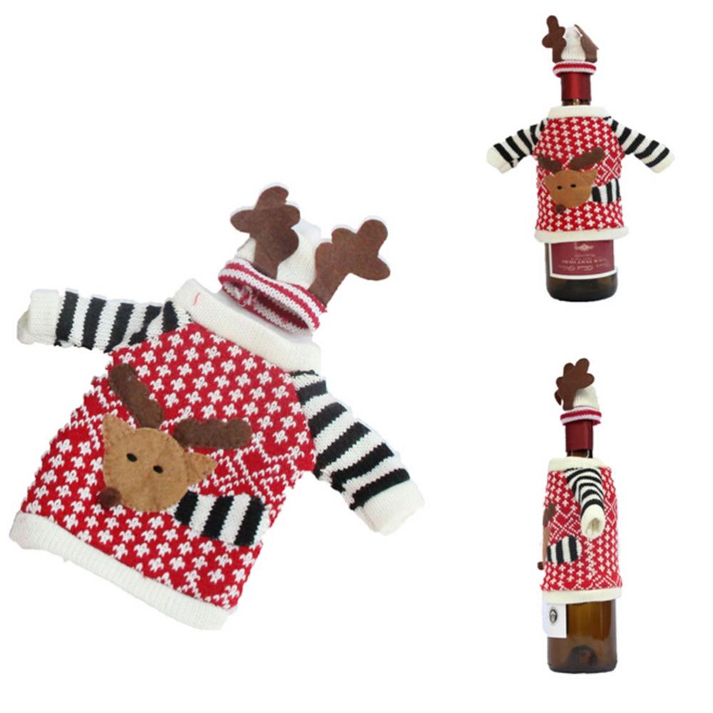 1 set carino maglione borse della bottiglia di vino rosso borse Babbo Natale cena decorazione della tavola vestiti con cappelli decori casa del partito