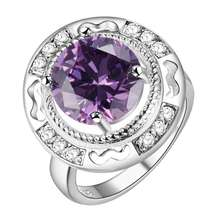 Hot silver color round ring with zircon red purple luxury romantic wedding gift fashion jewelry for