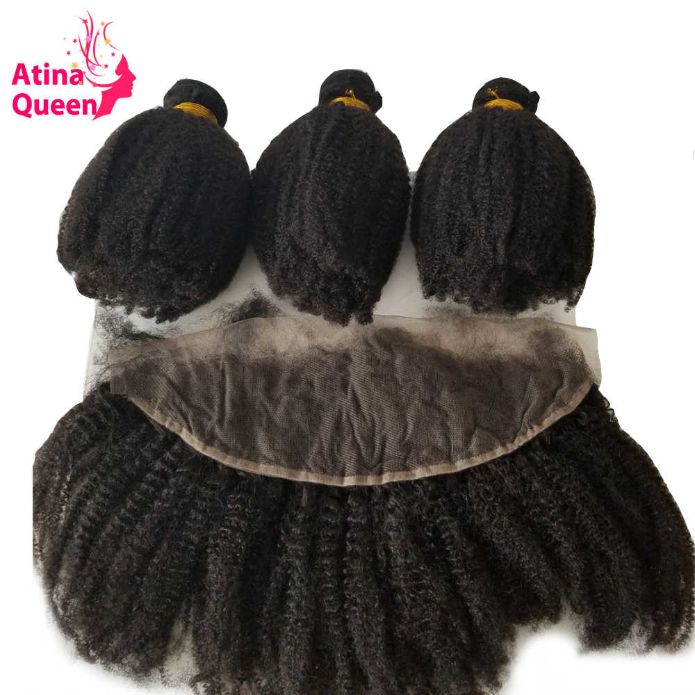Mongolian Tight Afro Kinky Curly Hair Weave 3 Human Hair Bundles With 13*4 Lace Frontal Closure Remy Atina Queen Hair Products
