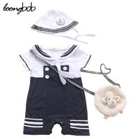 2015 New Baby Rompers Baby Boy Clothes Sailor Costume Short Sleeve Summer Baby Jumpsuit Hat 2