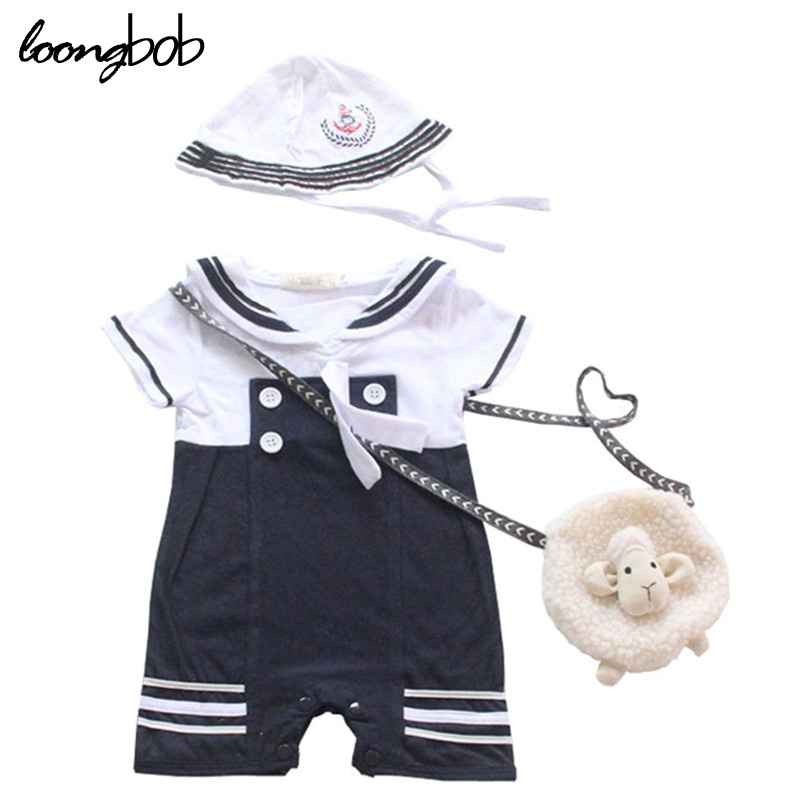 2016 new baby rompers baby boy clothes sailor costume short sleeve summer baby jumpsuit + hat 2 pcs casual suit roupas bebes