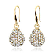 new fashion crystal earrings for women personality kc gold color waterdrop dangle statement wedding jewelry gifts