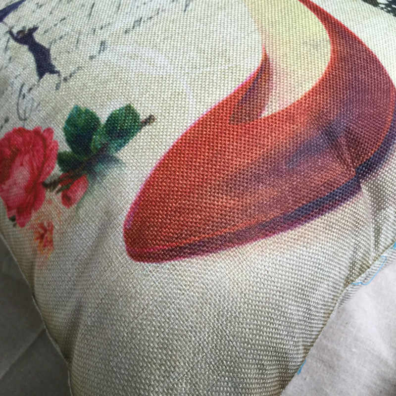 RUBIHOME التجزئة 1 قطعة طباعة عالية الكعب مع زهرة فراشة وسادة الزخرفية دون الداخلية رمي الوسائد أريكة ديكور المنزل