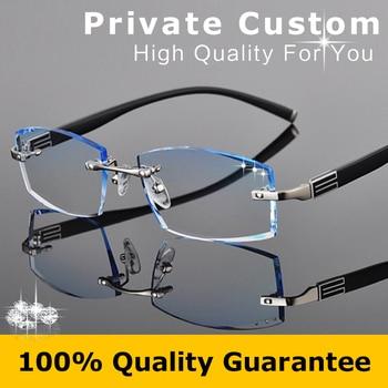 Famous Brand Eyeglasses Prescription Glasses Rimless Frame Men Myopia Glasses Male Luxury Prescription Colored Eye Glasses 614