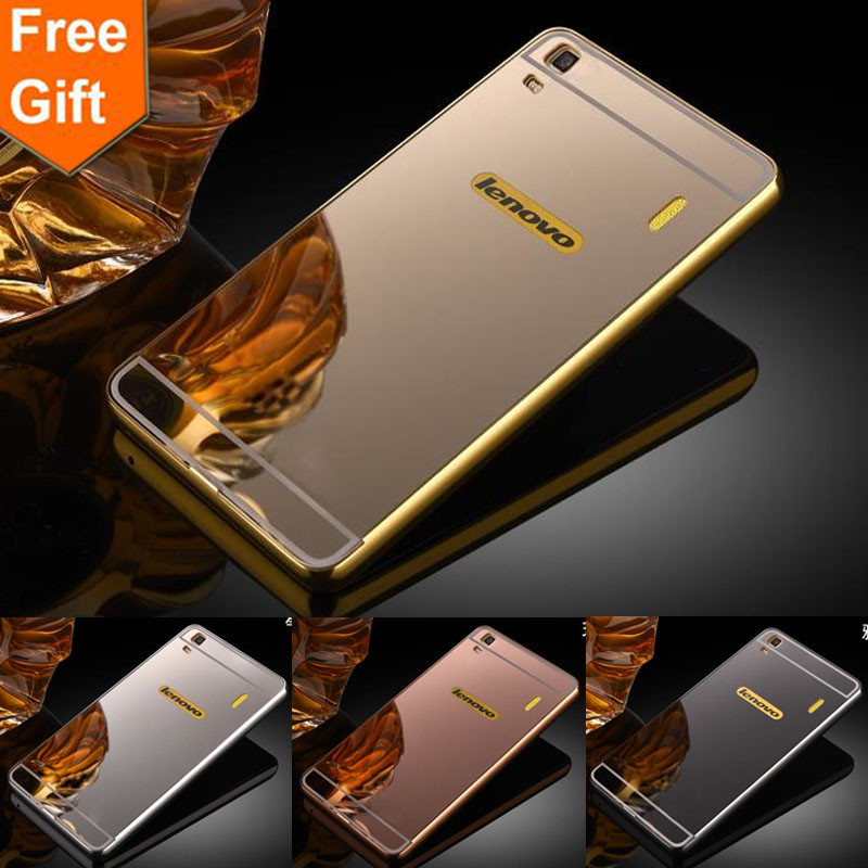 For Lenovo K3 Note case Lenovo A7000 Luxury Gold Plating Armor Aluminum Metal Frame + Mirror Acrylic Case phone Back Cover