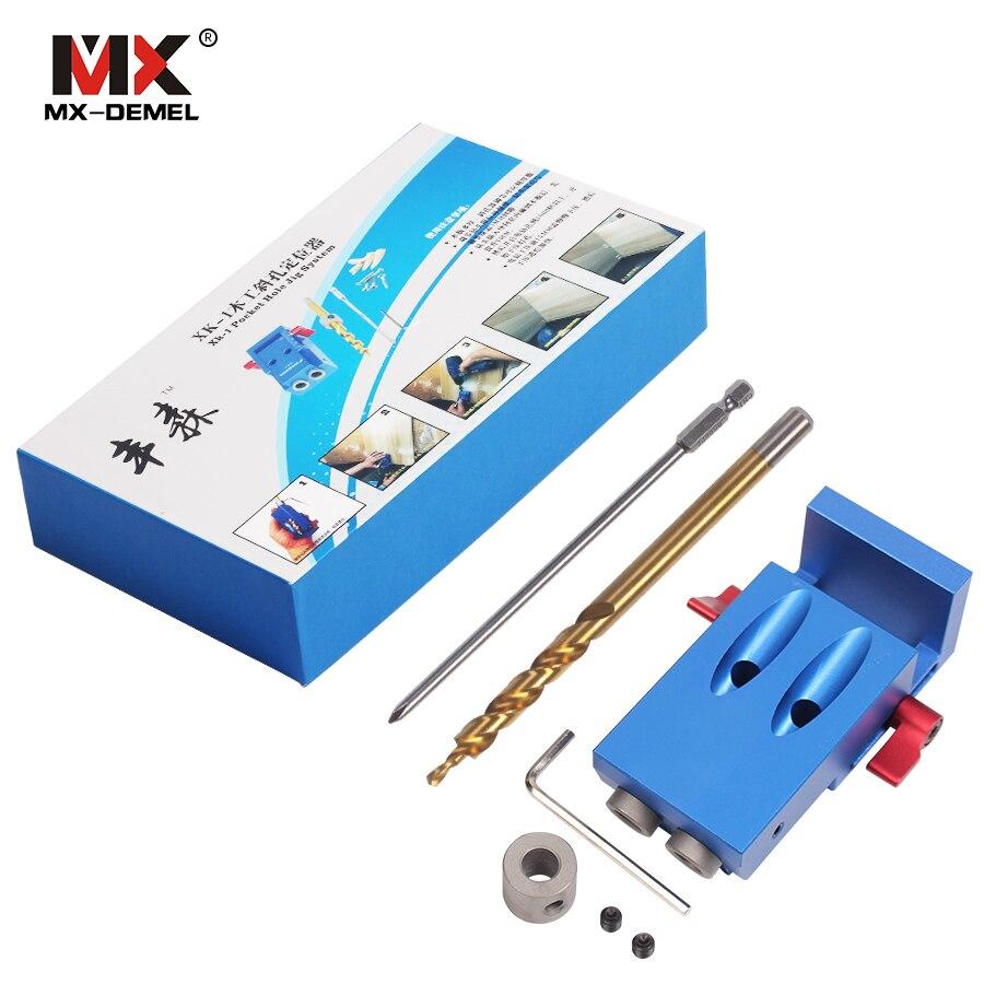 Mini Tasca Stile Kreg Foro Jig Kit Sistema Per La Lavorazione del Legno & falegnameria + Step Drill Bit e Accessori Strumento di Lavoro del Legno Set Con Box