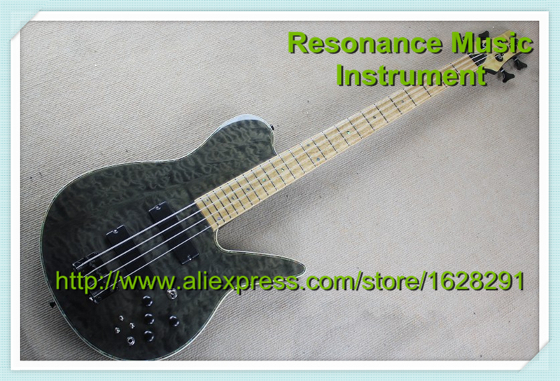 Magasin personnalisé gris matelassé Grains 4 cordes basse guitares bird seye érable Fretboard avec Mini bascule