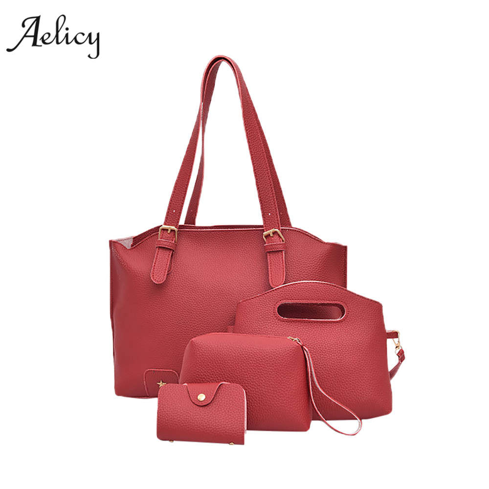 Aelicy Women Handbags High Quality PU Leather Shoulder Bags 4 set Female  Handbag Messenger Crossbody Bags e2c2af1dd94c6