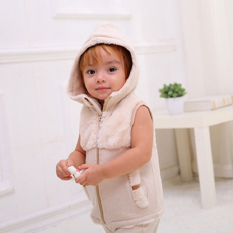 Autumn Winter Baby Girl Boys Cotton Hooded Weste Faux Fur Vest 2016 Unisex Infants Thick Sleeveless Jackets Outwear Coat Clothes