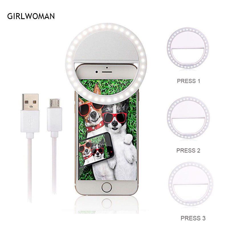 2018 Usb Usb Charging Selfie Ring Led Light Lamp Mobile Phone Lens LED Selfie Lamp Ring Flash for Iphone for Samsung Xiaomi ...