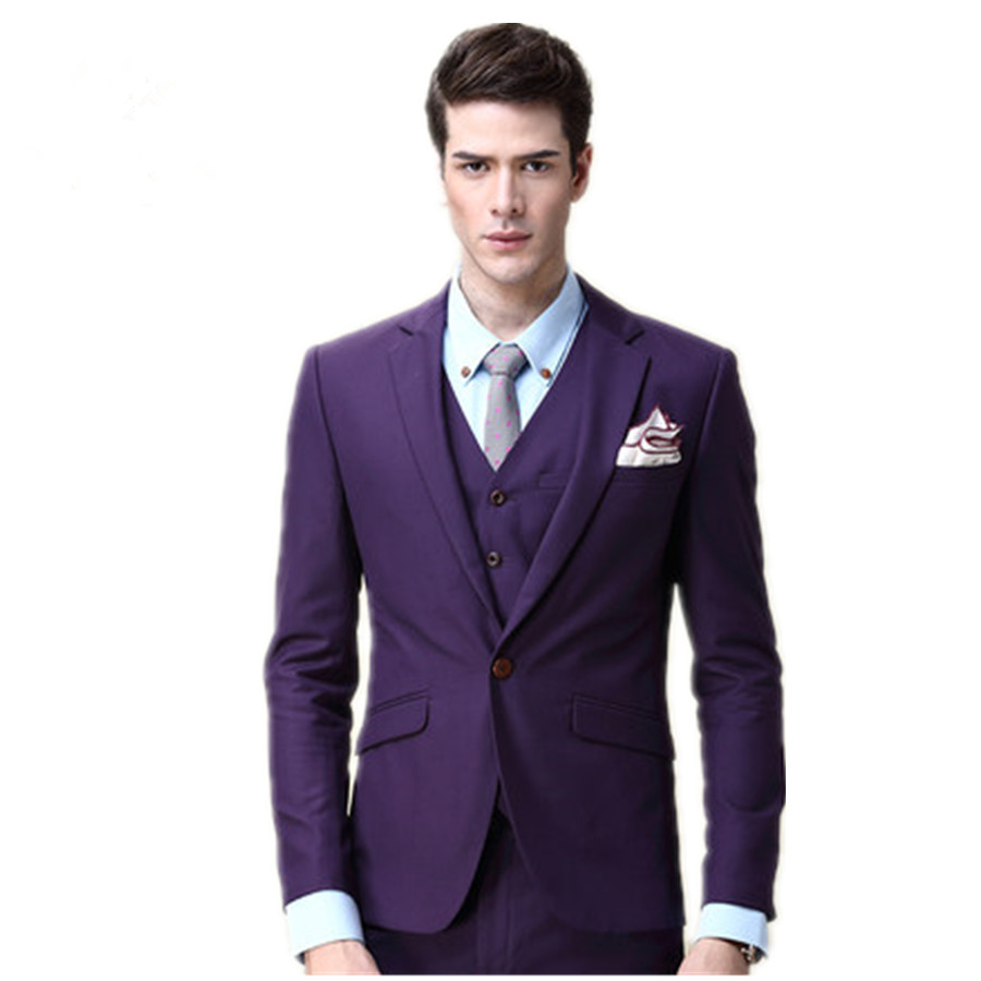 Groom Tuxedos Groomsmen Suit One Button Best Wedding Prom (Jackets ...