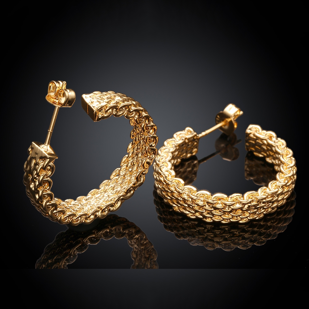 GNIMEGIL Fashion Gold Color Mesh Semicircle Stud Earrings for ...
