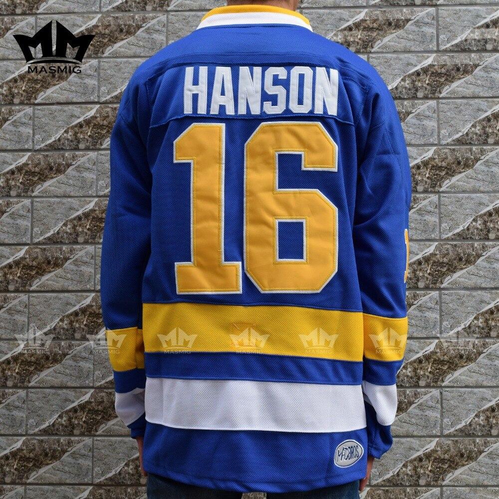ФОТО MM MASMIG Slap Shot Jack HANSON #16 Charlestown CHIEFS Hockey Jersey BlueS-3XL