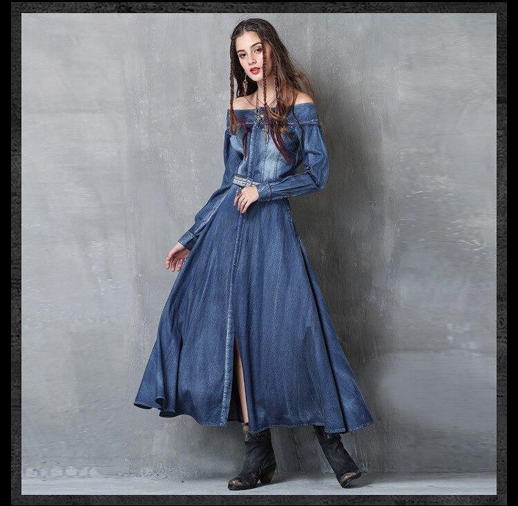 Manches longues dames robes décontracté 2018 printemps été Jurk Robe coréenne mode robes pour femmes Vestidos Mujer Robe Longue bleu