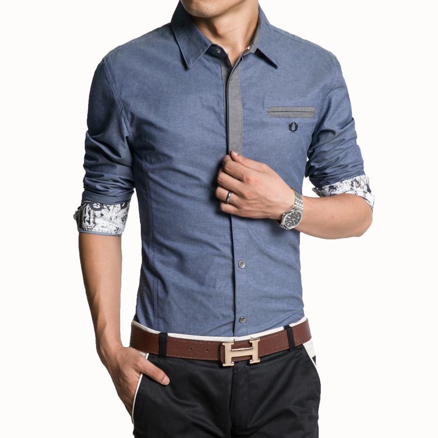 Popular Men's Casual Shirt Men Solid Color Long Sleeve 5-Buy ...
