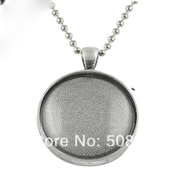 antique Silver -30sets Flash Sale  DIY Kits- 30mm Trays, Glass, and necklaces. 30mm Blank Photo Pendant Trays and Cabochons trays