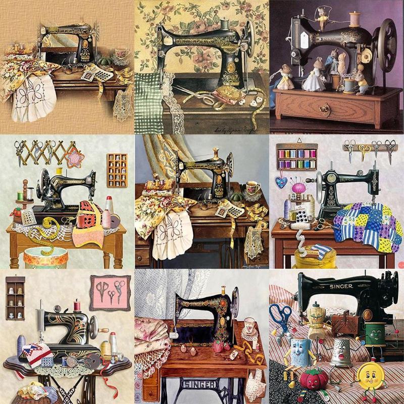 Полный Круглый дрель 5D DIY Алмазная картина швейная машина комплекты для вышивки/мозаики Вышивка крестом 5D домашний Декор подарок