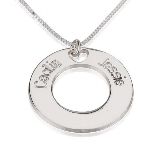 c932d27c101 925 Sterling Silver Engraved 2 Name Necklace Heart Hollow Custom Circle  Round Pendant Couple Friends Gift Keepsake