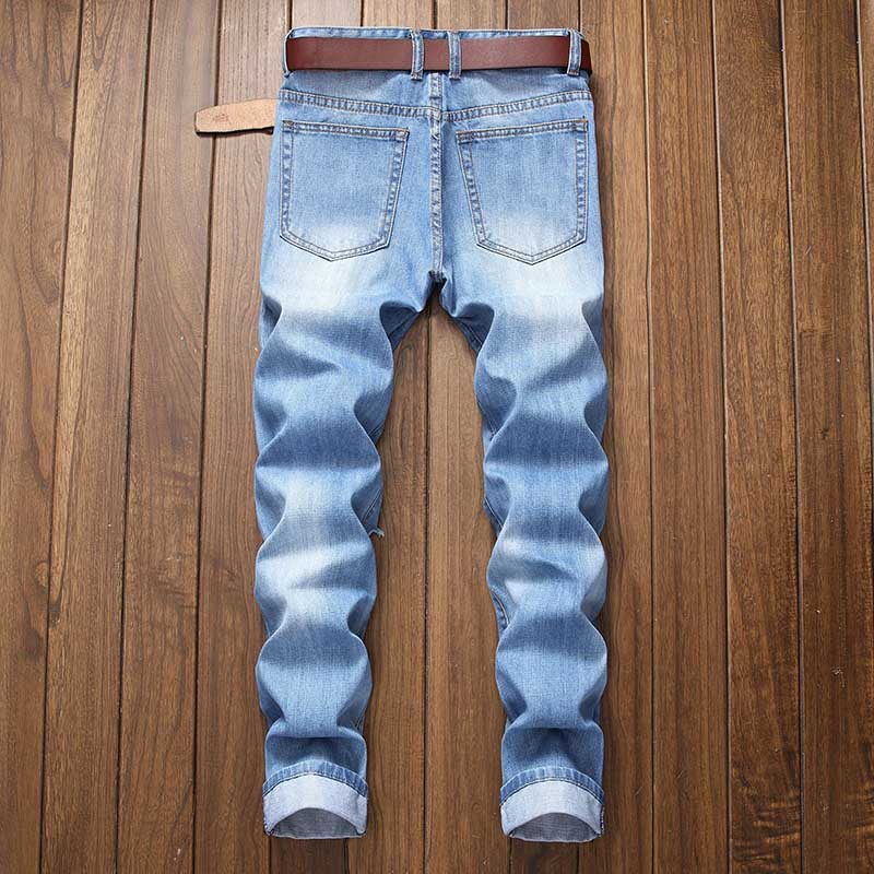 Mcikkny Men\`s Ripped Distressed Jeans Pants Washed Fashion Pleated Casual Denim Trousers Male Streetwear (1)