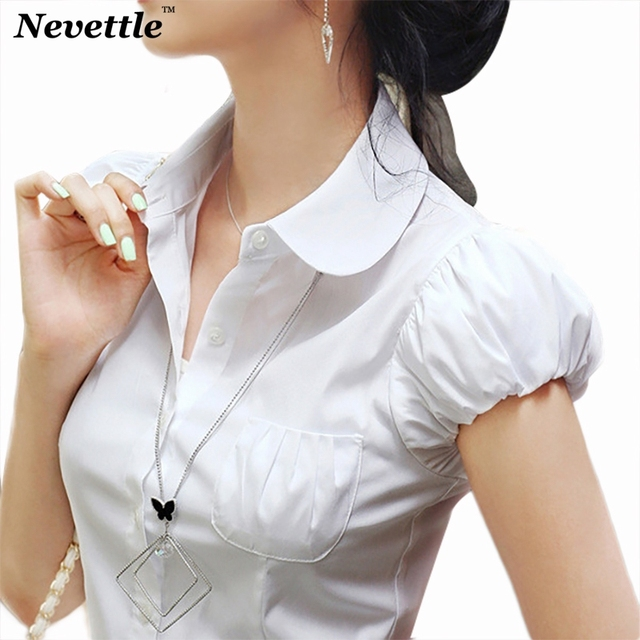 f43a9616 Summer Women Short sleeve Button Down OL Shirts Casual Korea Style Puff  Sleeve Chiffon Blouse White