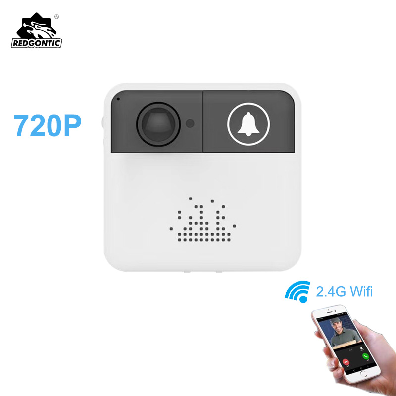 Redgontic Wireless Wifi Doorbell Intercom Door Bell Video Camera Two-Way Audio Night Vision APP Control for iOS Android Phones image