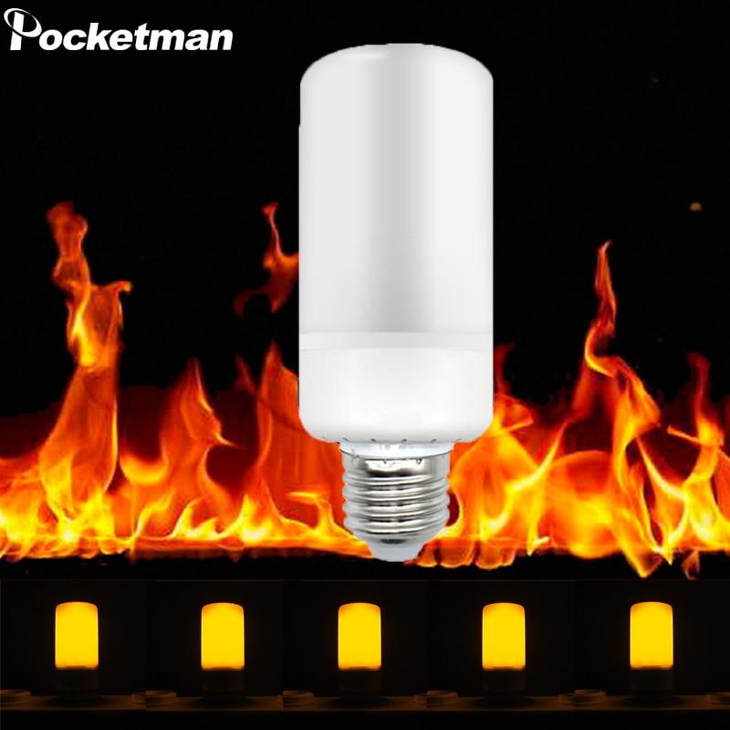 HOT E27 E14 B22 2835 LED Flame Effect Fire Light Bulb 5W Creative Lights Flickering Emulation Vintage Atmosphere Decorative Lamp