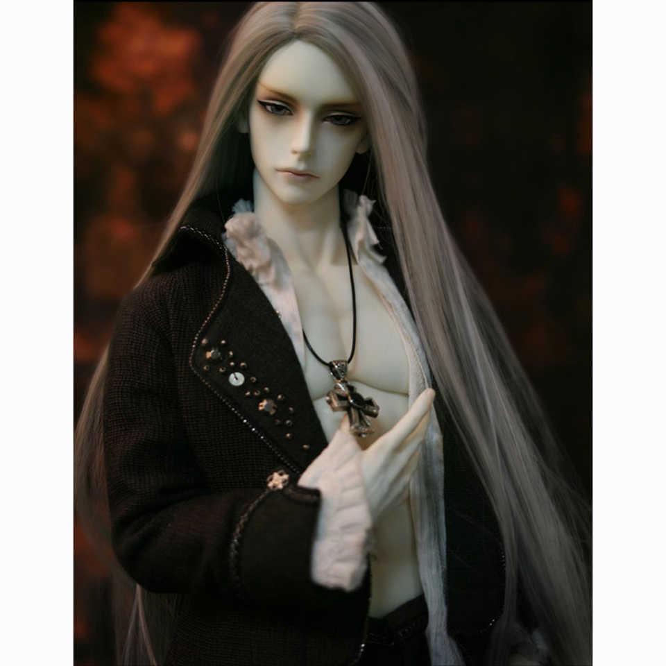 Allaosify синтетические волосы длинные прямые BJD парик для куклы серебристо серый черный
