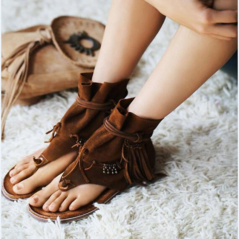 Hot Sale Beach Vocation Summer Dress Shoes Women Fringe Embellished Height Increasing Sandal Vintage Lace Up Gladiator Sandals 304 stainless steel door handle lock anti theft door lock mute copper cylinder wood door stainless steel handle split locks