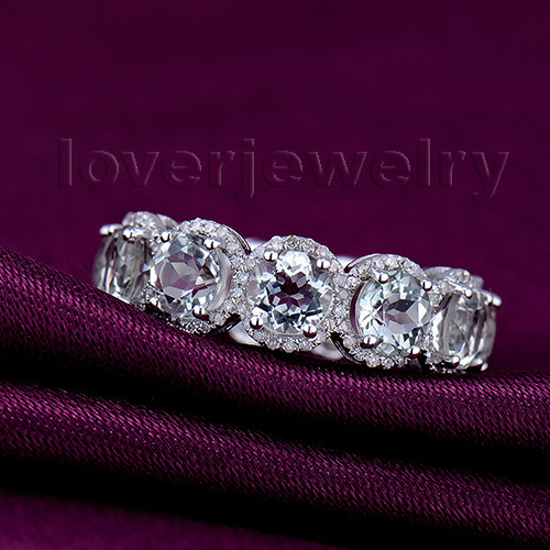 New 11 Stones Round 5mm Solid 14Kt Gold Natural Diamond Amethyst Rings WU194