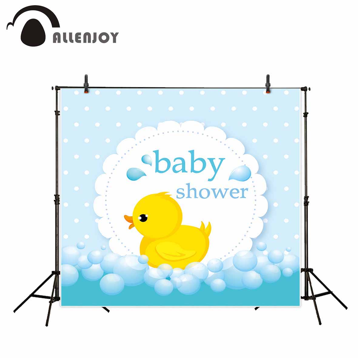 Allenjoy childern yellow cartoon duck photo backdrops dots blue baby shower cute custom background baby portrait photography photography background baby shower step and repeat allenjoy backdrop custom made any size any style