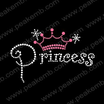 Free Shipping 30pcs/Lot  Custom Design Available Princess with Hot Pink Crown Hot Fix Rhinestone Transfer Motifs for Garment