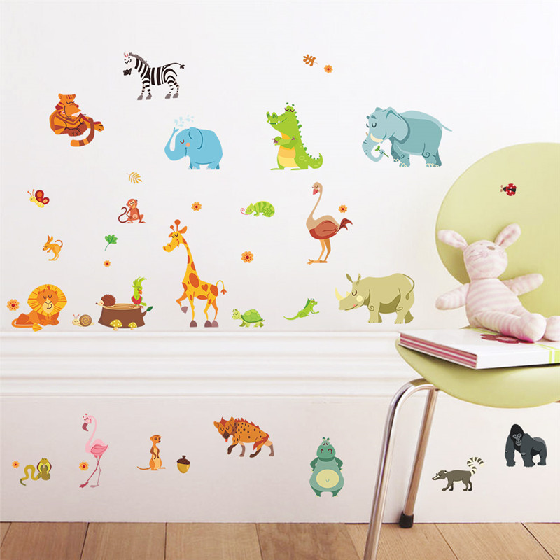 Jungle Animals Wall Stickers For Kids Rooms Safari Nursery Rooms Baby Home Decor Poster Monkey Elephant Horse Wall Decals