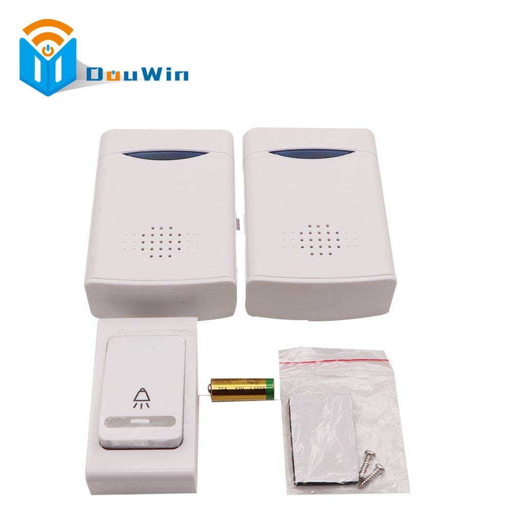 Door Bell 1 Remote Control with 2 Wireless Digital Receiver Doorbell quite long receiving distance for security alarm door bell wireless home security door bell call button access control with 1pcs transmitter launcher 1pcs receiver waterproof f3310b