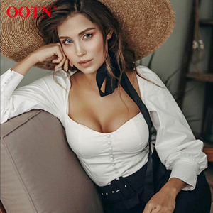 Image 1 - OOTN col carré blanc tunique femmes Blouse chemise femme élégant 2020 été Sexy manches bouffantes hauts dames bureau Blouses décontracté