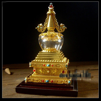 "Tibetan Buddhism Supply Exquisite Crystal Stupas Bodhi Pagoda 6"" House Exorcise Evil Spirits Buddhist Pagoda Temple Decoration"