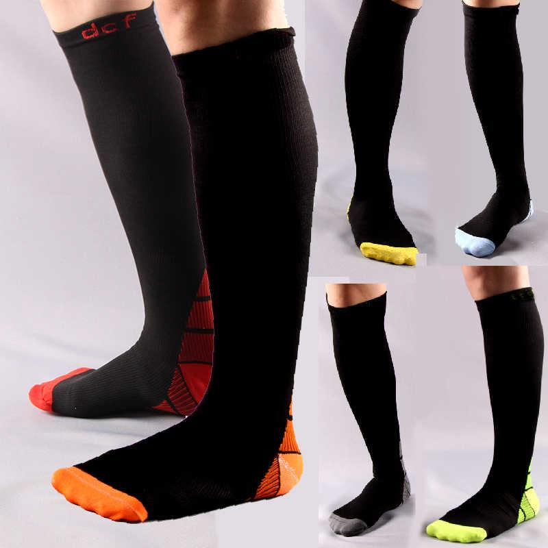 Мужские и женские Компрессионные носки дезодорирует градиент цвета давления  тираж анти-fatigu колено высокие ортопедические f8f2db1e2bf