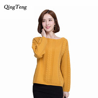 NgTeng A Word Real Genuine Goat Cashmere Pullover Sweater Women Geometric Pattern Loose Batwing Sleeve Knitted