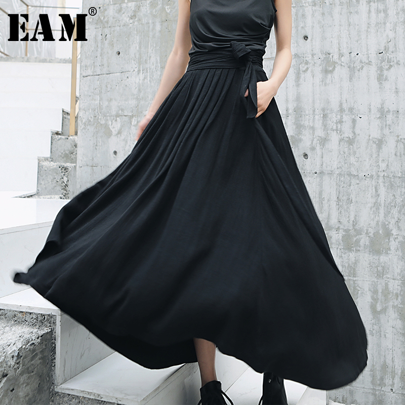 EAM 2019 New Spring Summer High Elastic Waist Black Loose Temperament Bandage Bow Half body