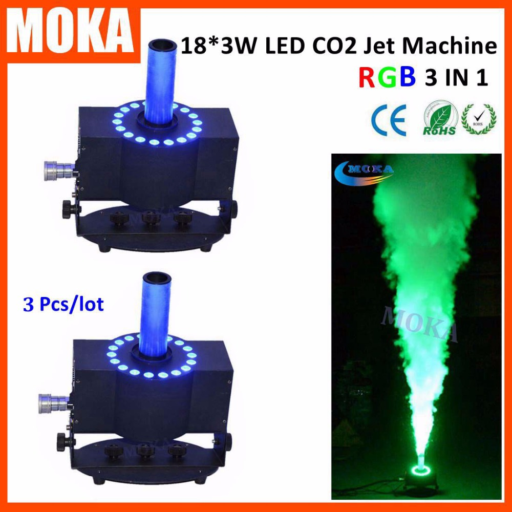 3Pcs/lot LED Smoke Stage Effect Co2 Jets Machine Powerful Co2 Cannon Blaster Colorful Disco lighting effects with rgb led lamp china moka stage 4piece high power 250w rgb led co2 jets disco dj co2 equipment jet cannon machine for party disco night club