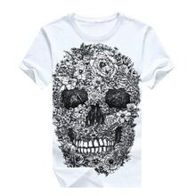 Newest Fashion 2017 Brand Skull 3D T Shirt Men Hip Hop Mens T Shirts Casual Fitness Skate Swag Marcelo Burlon Clothing 13M0597