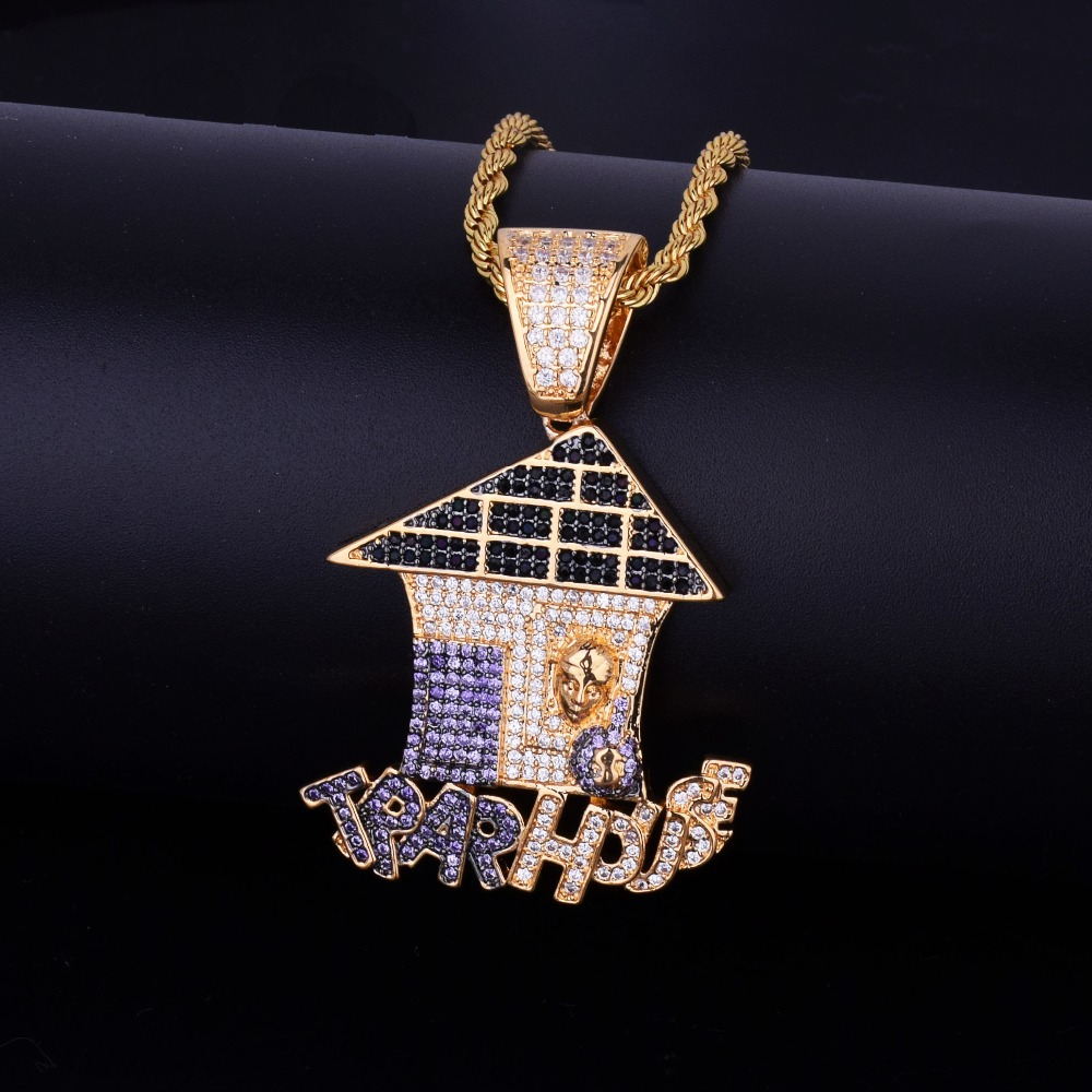 все цены на Fly Raw Stone Christmas house pendant set with colored zircon hip hop necklace personalized jewelry necklace