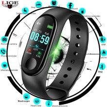 LIGE Smart Bracelet Waterproof Sports Watch Men Women Fitness Pedometer Heart Rate Blood Pressure Monitor Smart Wristband+ Box