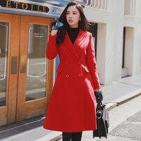 Dabuwawa тонкий х Линия tailored двубортное пальто теплые длинные высокие Талия Британский Стиль зимнее шерстяное пальто