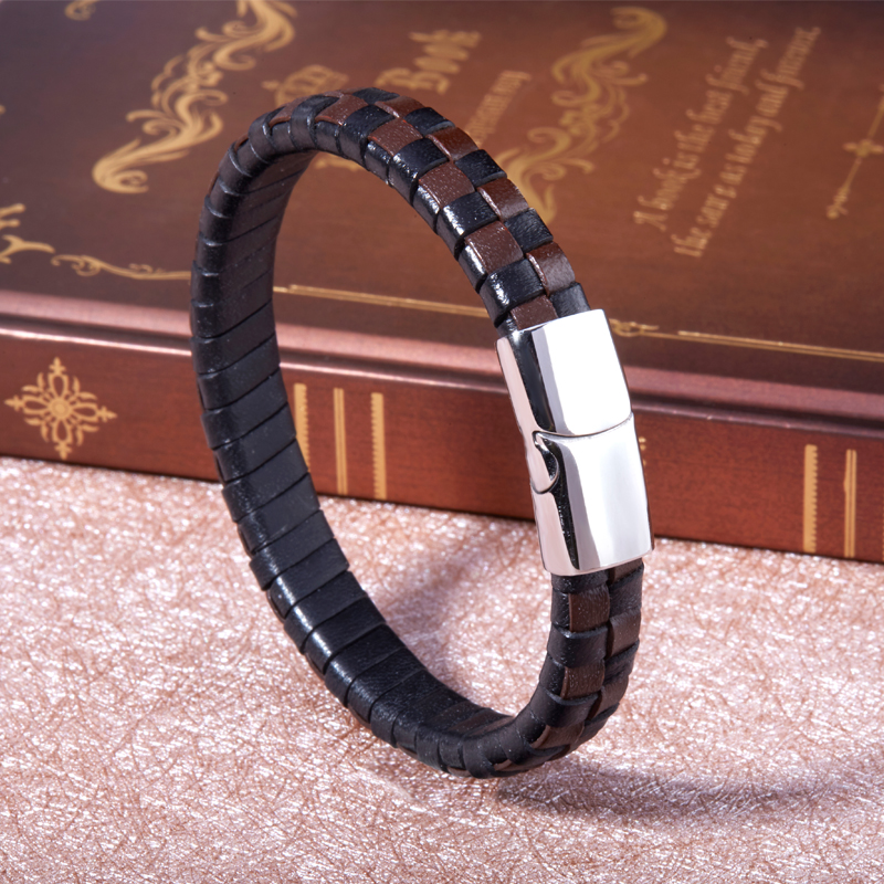 2018 FASHION Men Bracelet Stainless Fold Braided Rope Leather Chain Bracelets Punk Rock Style Male Jewelry