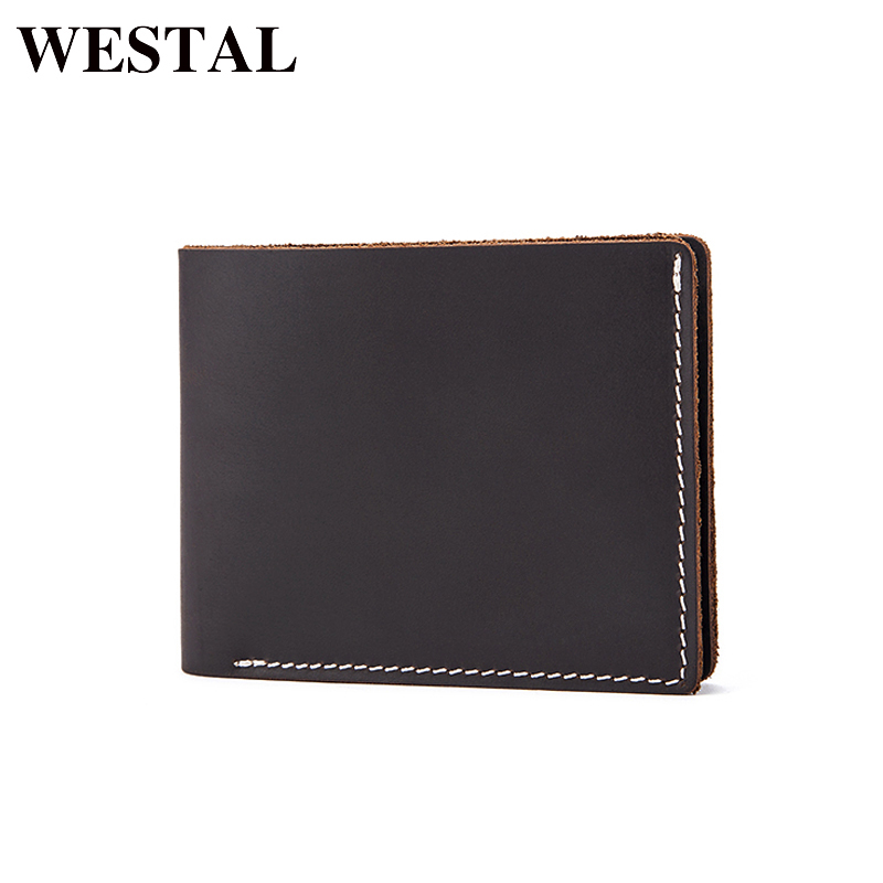 WESTAL Crazy Horse Leather Men Wallets Vintage Male Genuine Leather Wallet For Men Card Holder Purse men's wallets Clip 8811 man standard wallets crazy horse leather 2018 new fashion men brand vintage genuine leather wallet card