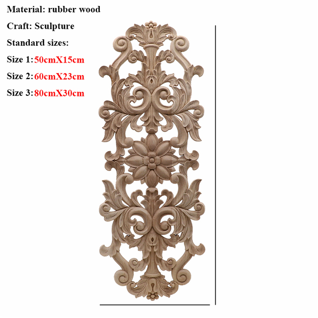 Unpainted Wood Oak Carved Wave Flower Onlay Decal Corner Applique for Home Furniture Decor Decorative Wood Carved Long Applique 4